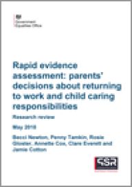 Rapid evidence assessment: patents' decisions about returning to work and child caring responsibilities
