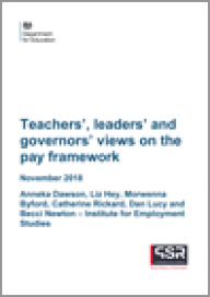 Teachers', leaders' and governors' views on the pay framework