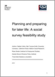 Planning and preparing for later life: A social survey feasibility study